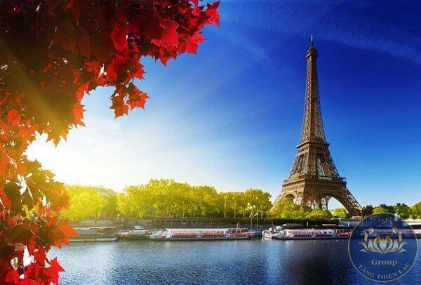tranh phong cảnh của các nước khác trên thế giới: Nhật Bản với hoa anh đào, Pháp với tháp Eiffel, Hàn Quốc