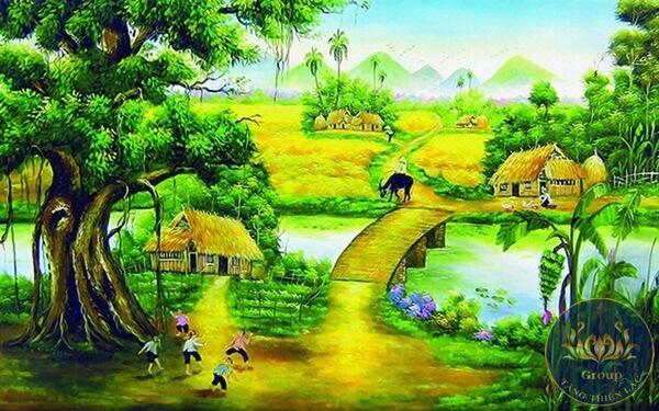 Tranh dán tường chủ đề sông nước cho người mệnh thủy và mộc