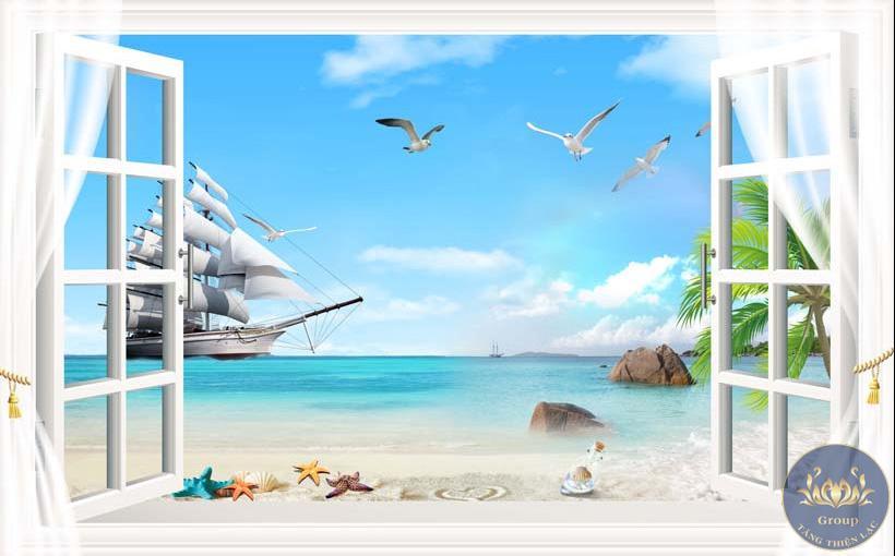 Tranh dán tường 3D cửa sổ biển và thuyền buồm cho gia chủ thuận lợi hơn