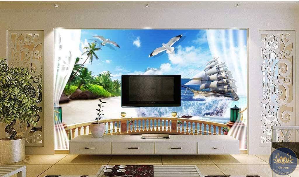 Tranh dán tường 3D khung cửa sổ biển cũng tạo ảo giác về sự thoáng mát rất nhiều