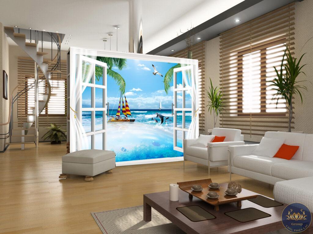 Tranh 3D cửa sổ cảnh biển tạo không gian vô cùng mát mẻ