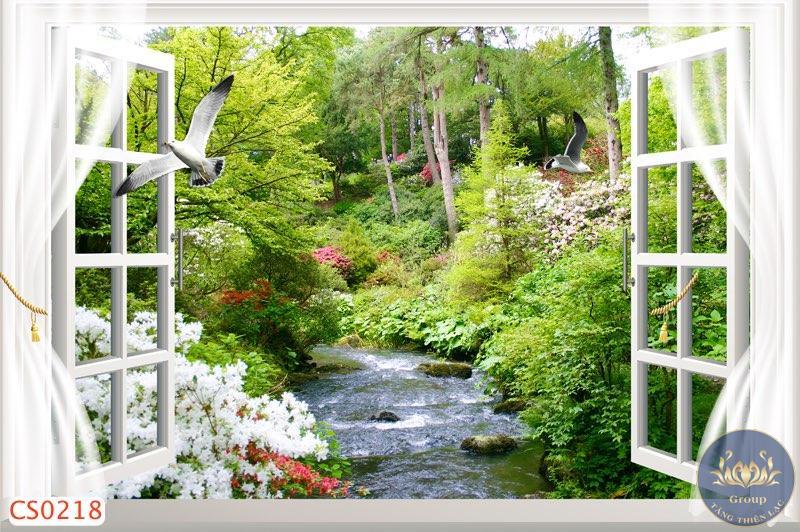 Tranh 3D cửa sổ con suối như đang đi vào khe suối giữa rừng xanh