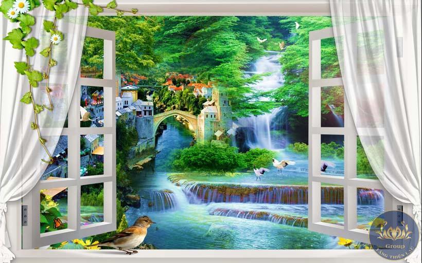 Tranh 3D cửa sổ suối mang phong cảnh thiên nhiên vào nhà mát mẻ