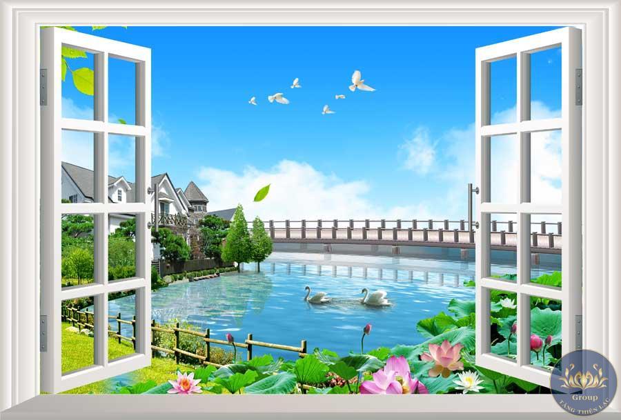 Tranh 3D khung hình cửa sổ hoa sen làm cho gia chủ thấy an lạc hơn