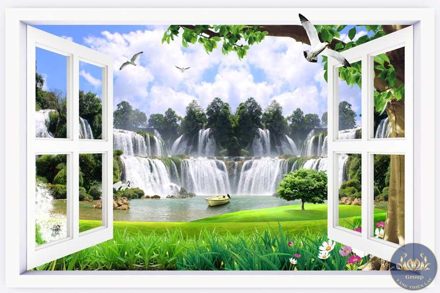 Tranh 3D cửa sổ thác nước như tiền đang chảy vào nhà vậy