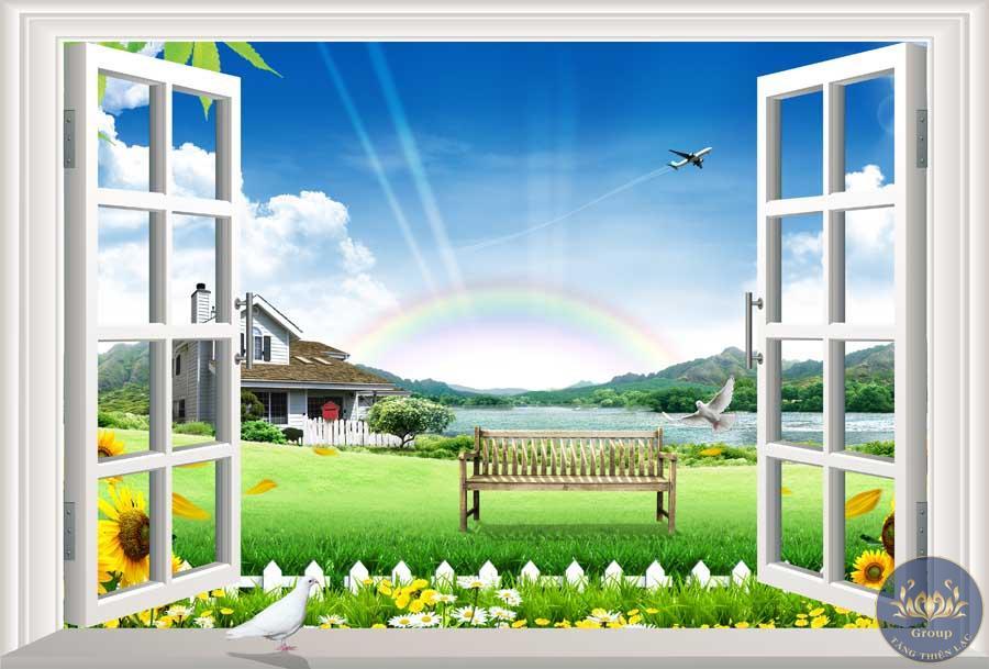 Tranh 3D cửa sổ cảnh thiên nhiên mát mẻ êm dịu