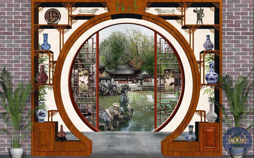 """Tranh 3D cửa sổ cảnh Trung quốc như """"Tử Cấm Thành """""""