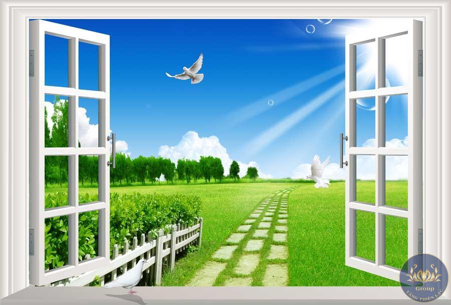 Tranh 3D cửa sổ con đường làng làm cho ta gợi nhớ về quê hương