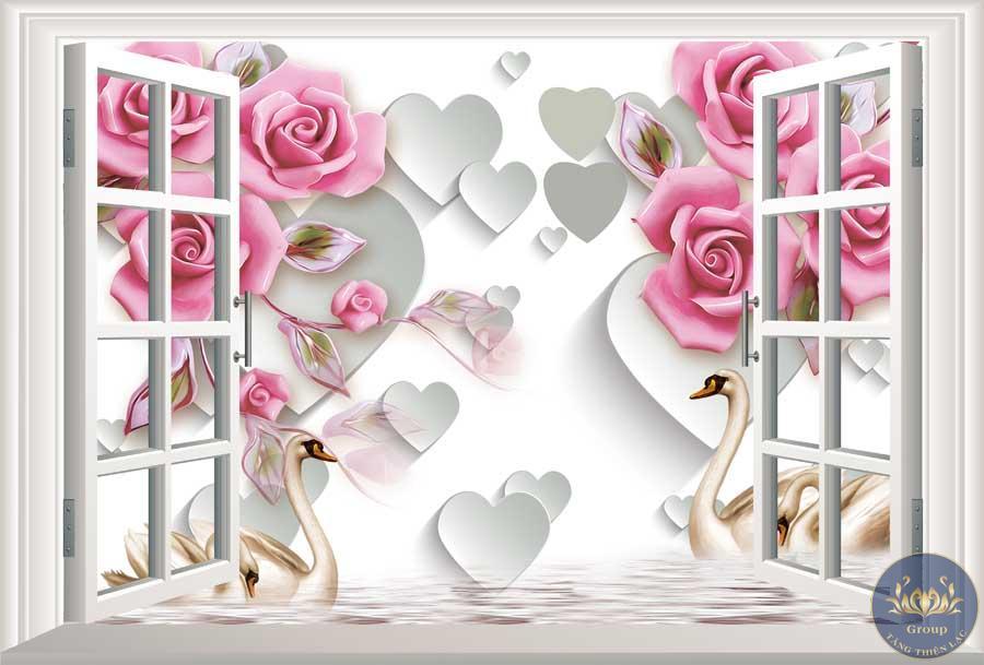 Tranh 3D cửa sổ hoa hồng làm cho gia chủ yêu đời hơn