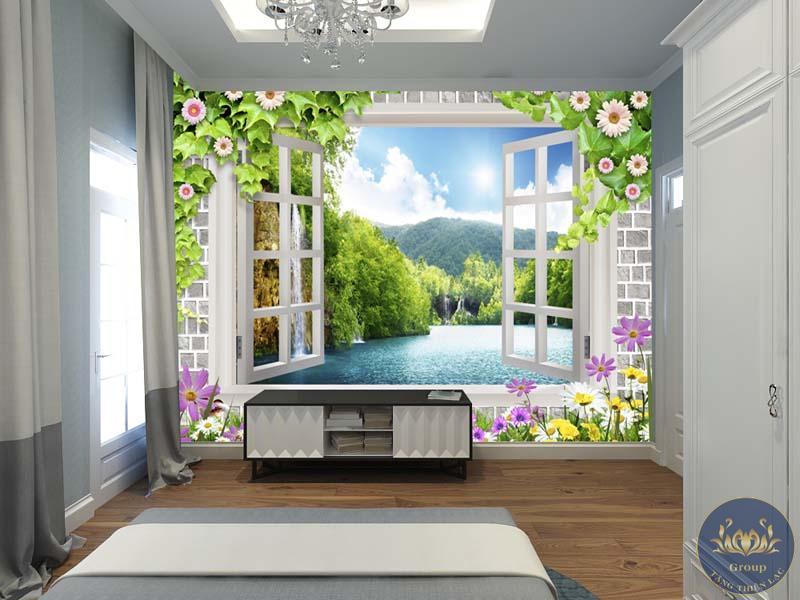 Tranh 3D cửa sổ phòng khách làm không gian tăng chiều sâu đáng kể