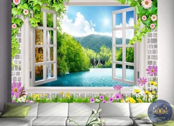 Tranh dán tường 3D khung hình cửa sổ thiên nhiên cho chúng ta được hòa nhập vào thiên nhiên
