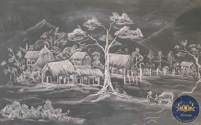 Tranh đen trắng nghệ thuật quê hương