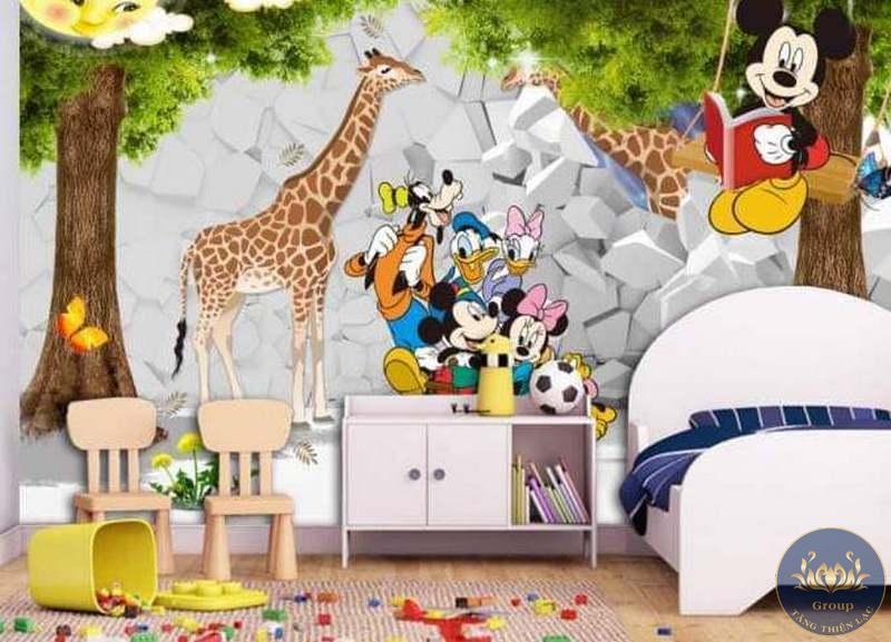 Tranh dán tường 3D cho bé từ 5-8 tuổi được thiết kế với những bức tranh ngộ nghĩnh hết sức dễ thương