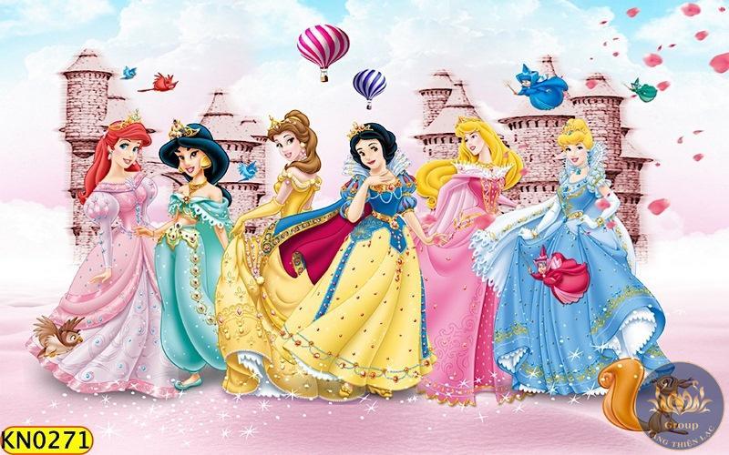 chọn tranh dán tường phòng ngủ cho bé gái hình công chúa dễ thương
