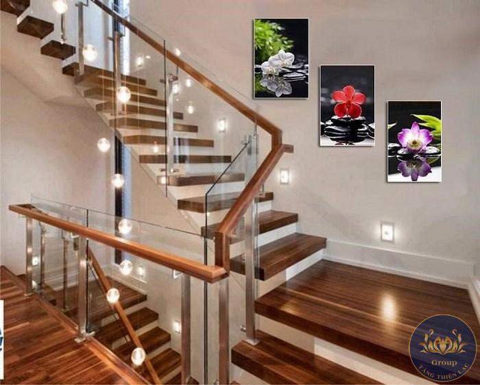 Tranh dán tường 3D cầu thang tạo điểm nhấn ấn tượng cầu thang