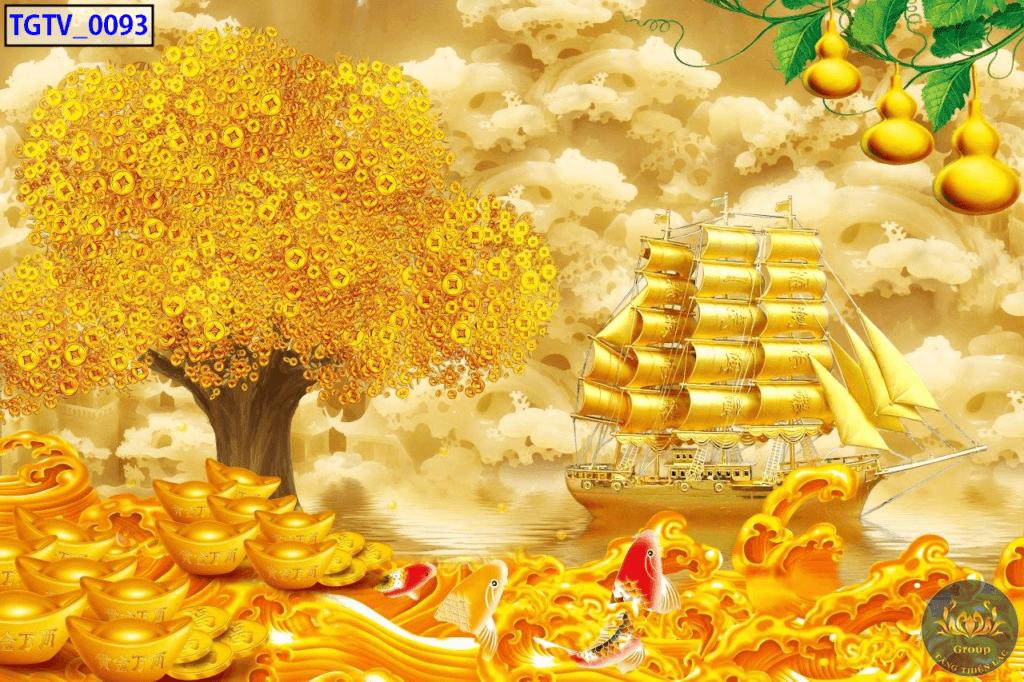Tranh 3D dán tường hay treo tường thuận buồm xuôi gió hình cây lộc vàng là tốt nhất