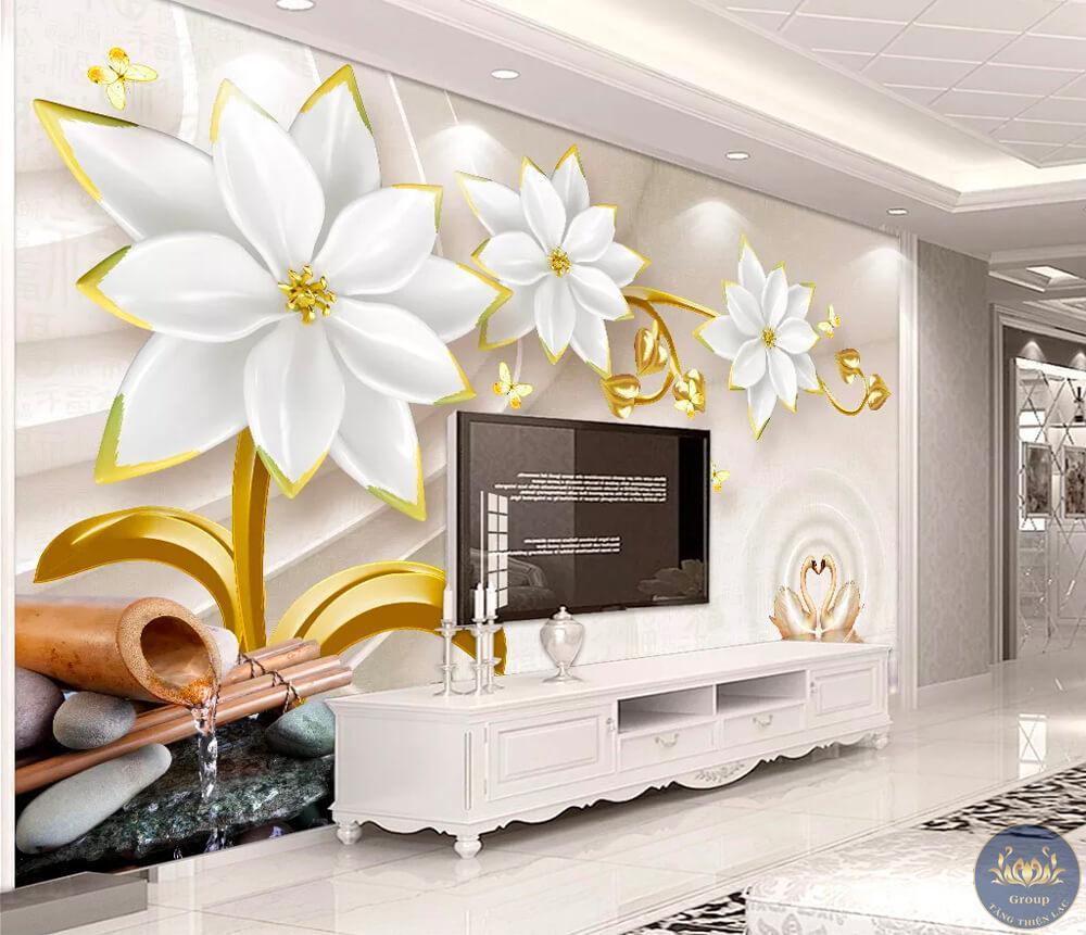 Tranh 3D tuổi tý phòng khách nên chọn những mẫu tranh màu trắng
