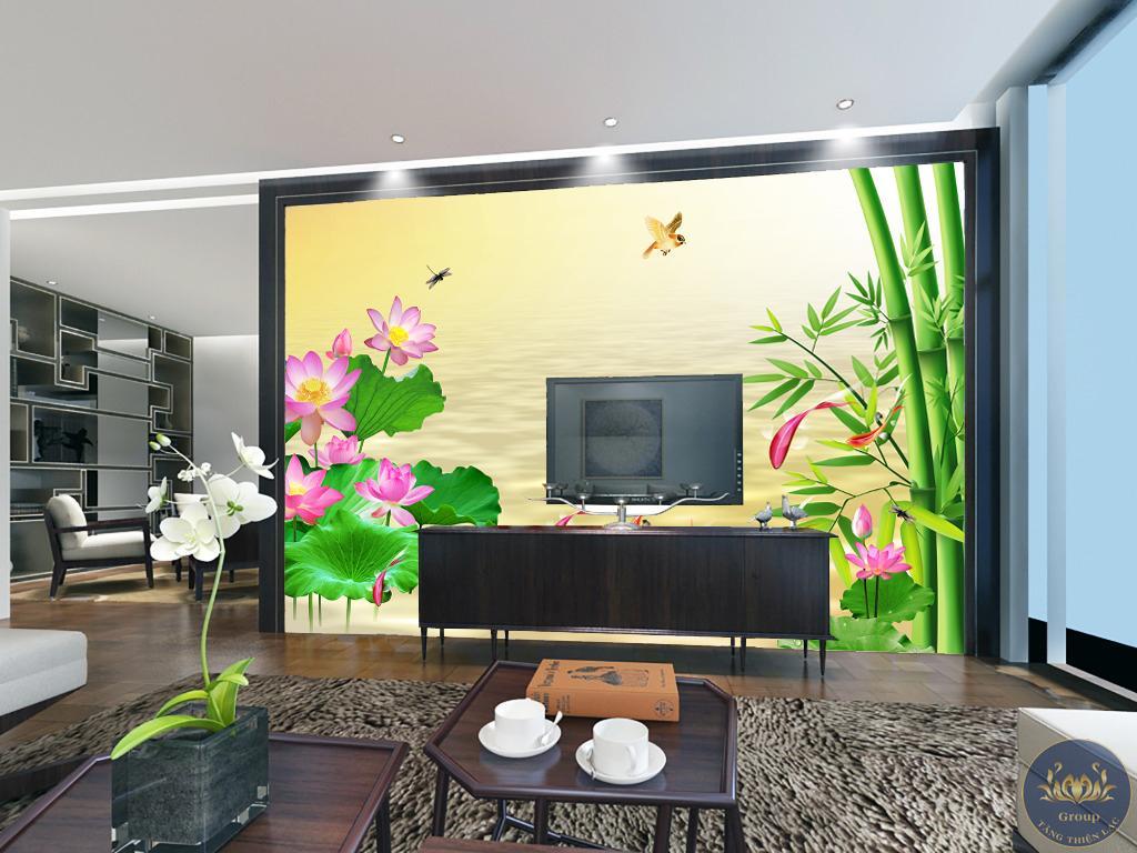 Tranh 3D hoa sen đây là biểu tượng của công ty thể hiện sự thuần khiết