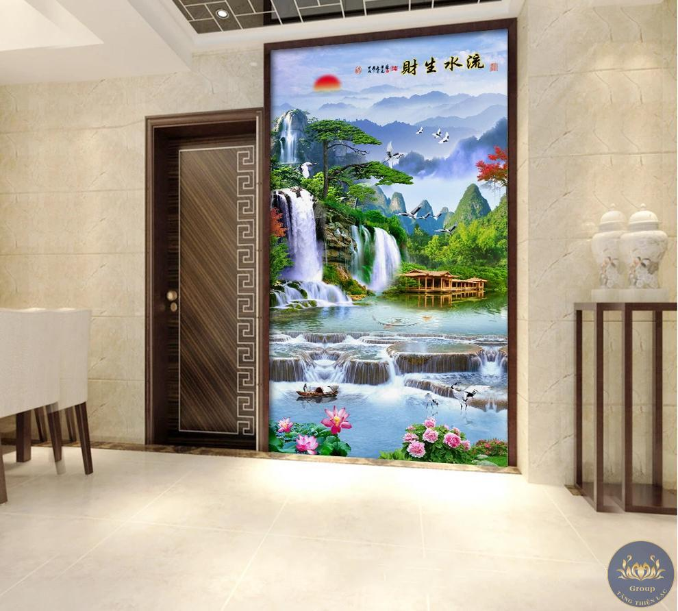 Tranh dán tường 3D khổ dọc phòng khách làm cho không gian thoáng mát hơn