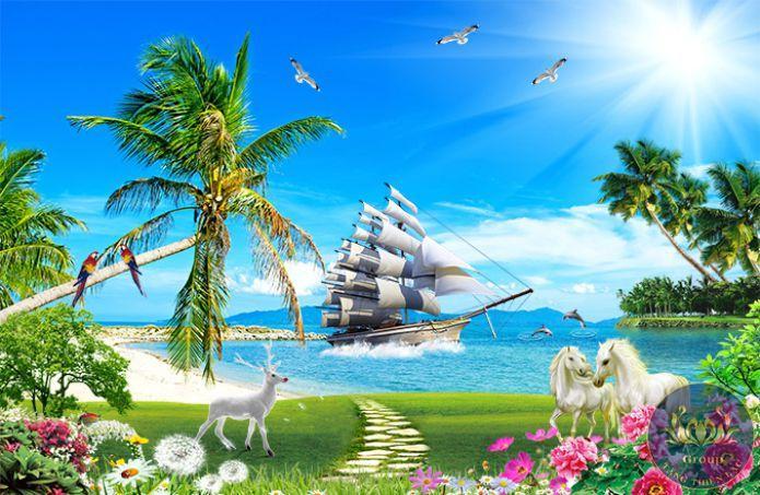 Tranh 3d thuận buồm xuôi gió và mã đáo thành công mang lại thuận lợi và chiến thắng cho gia chủ