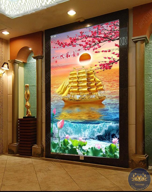 Tranh dán tường 3D thuận buồm xuôi gió mạ vàng chở vàng về đầy ắp