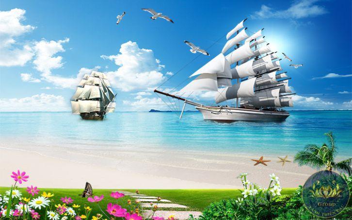 Ý nghĩa và cách dán tranh Thuận buồm xuôi gióvà cảnh biển xanh mang về sự thuận lợi cho gia chủ