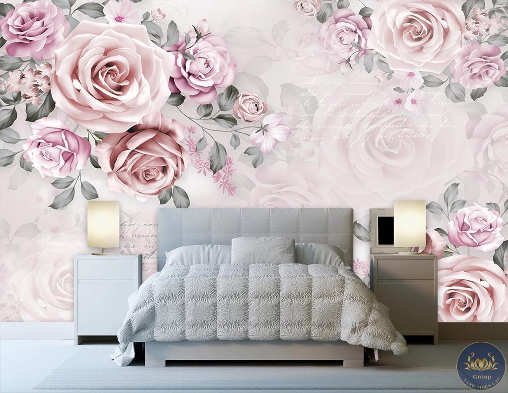 Tranh 5d hoa hồng không gian rất lãng mạn