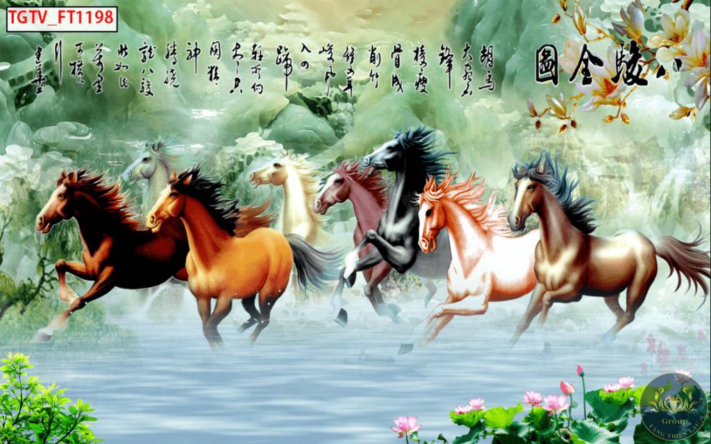 Tranh mã đáo thành công 8 con ngựa luôn luôn mang lại hạnh phúc và may mắn