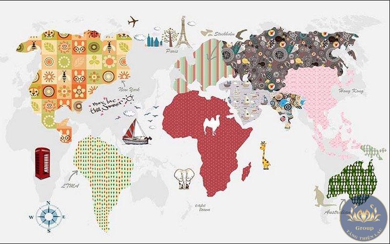 Tranh dán tường bản đồ cho bé học hỏi đáng yêu nhất