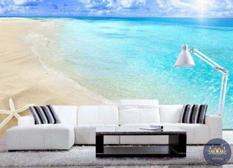 Tranh 3D dán tường cảnh biển để tạo không gian hiện đại và sang trọng cho phòng giám đốc