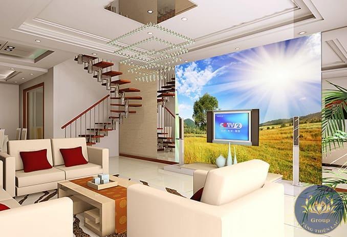 Tranh 3D cầu thang phòng khách tạo sự thoáng mát cho không gian