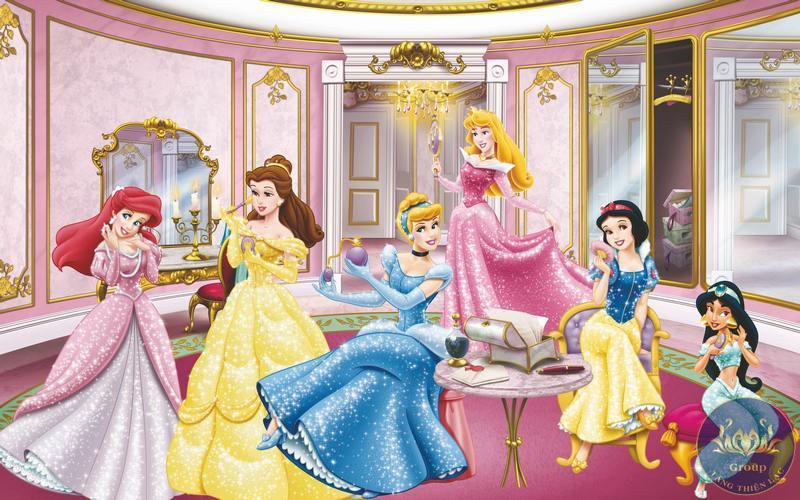 Tranh 3D công chúa mầm non được in bằng chất liệu dễ lau chùi vệ sinh