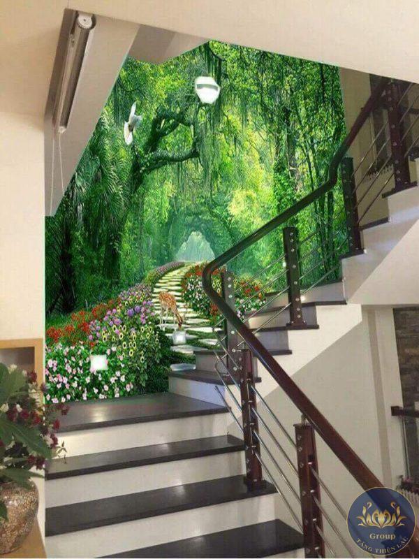 Tranh dán tường cầu thang sẽ giúp căn nhà có thêm một điểm nhấn đặc biệt