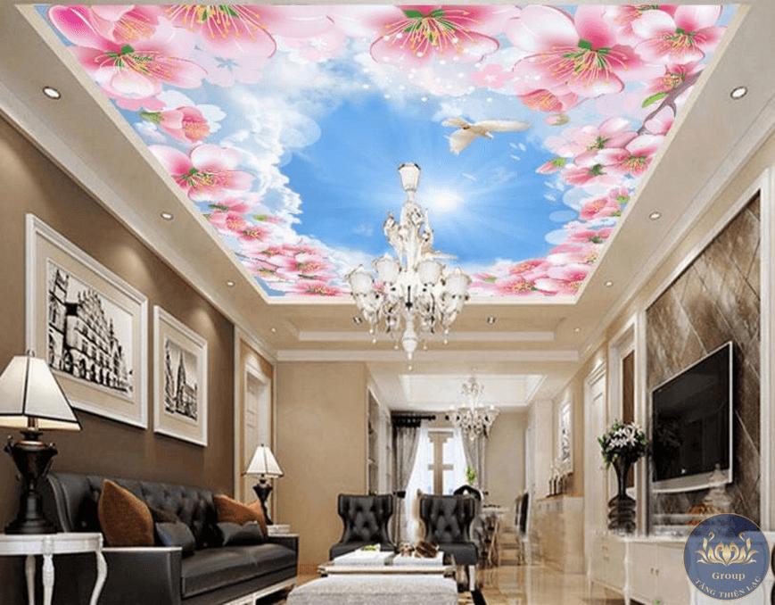 Làm thế nào để lựa chọn được mẫu tranh dán trần phù hợp với không gian và nội thất