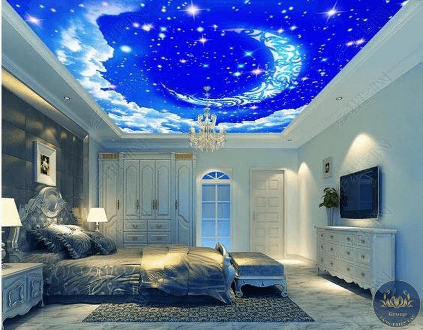 Tranh dán trần 3D phòng ngủ nên ưu tiên tâm lý thoải mái cho gia chủ để giấc ngủ được chìm sâu hơn