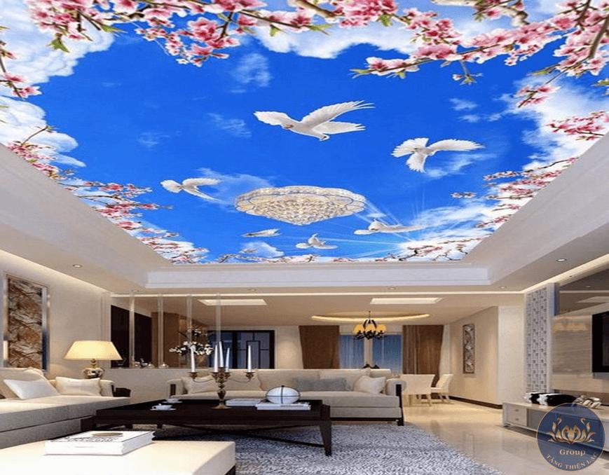 Tranh dán trần 3D thạch cao phù hợp với nhiều không gian trong nhà và đang là xu hướng hiện nay
