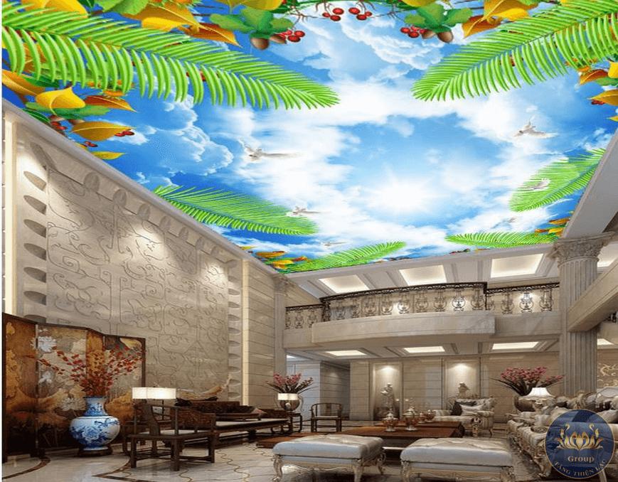 Tranh dán trần nhà 3D mang đến nhiều cảm giác thú vị mới lạ cho mọi người
