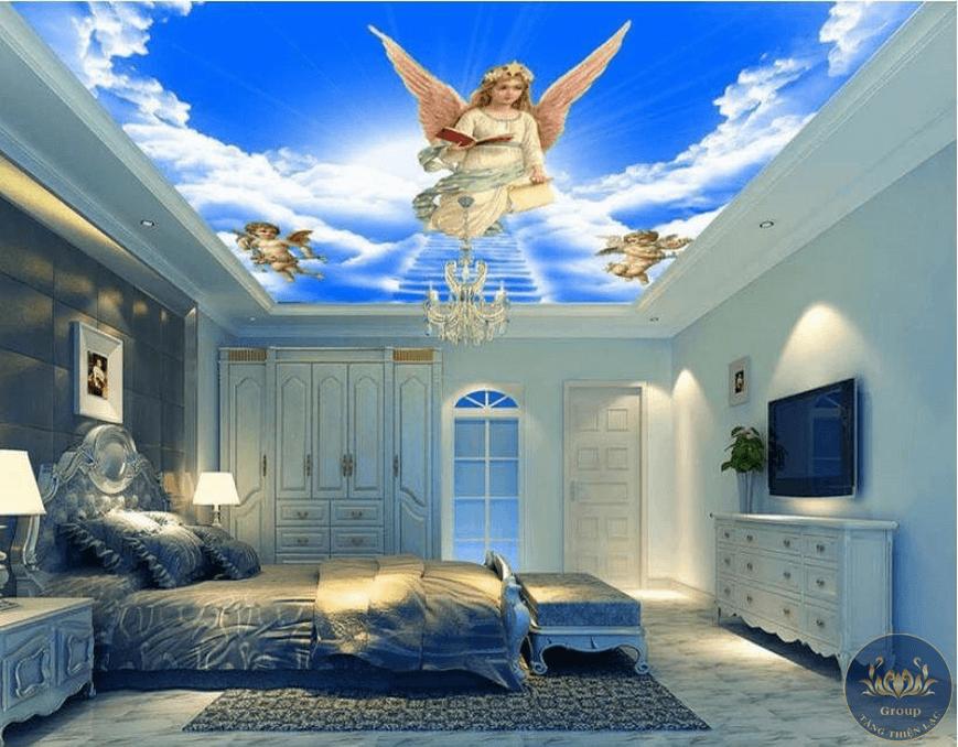 Tranh 3D dán trần phòng ngủ tạo cho gia chủ giấc ngủ ngon hơn