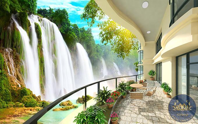 Tranh lụa 5D được trang trí không gian phòng khách