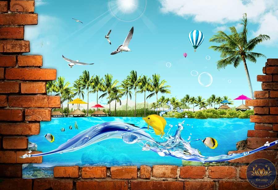 Tranh dán tường 3D cảnh biển đại dương mát mẻ thông thoáng