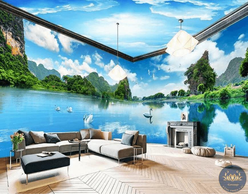 Tranh dán tường 3D phòng khách sẽ làm cho gia chủ cảm thấy thoải mái và tự tin hơn khi đón tiếp khách sang trọng