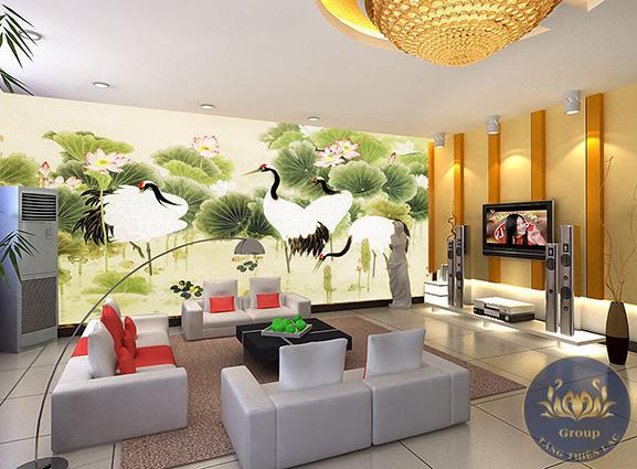 Tranh dán tường hoa sen cũng là tượng trưng bản chất con người Việt Nam