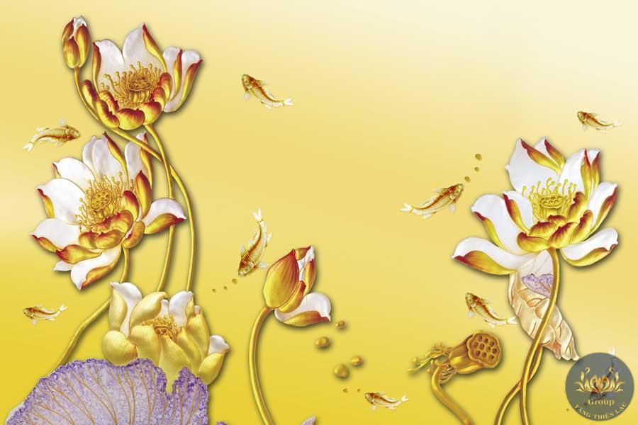 Tranh dán tường hoa sen vàng tạo sự tinh khiết cho không gian thờ phụng