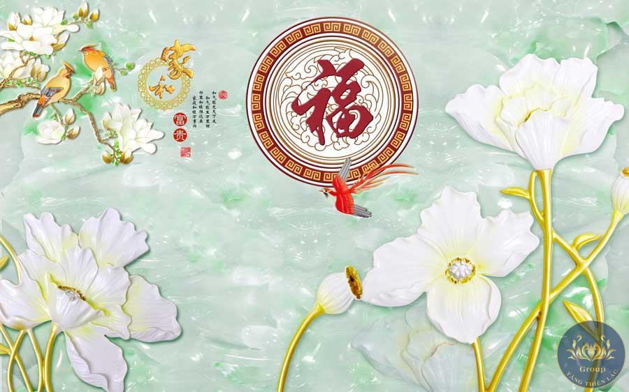 Tranh dán tường hoa sen trắng thể hiện sự tinh tế và trong sạch nơi trang nghiêm