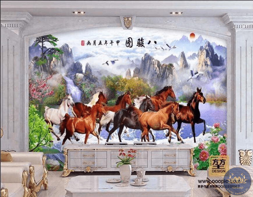 Tranh mã đáo thành công có tất cả 8 con ngựa thể hiện gia chủ phát tài to