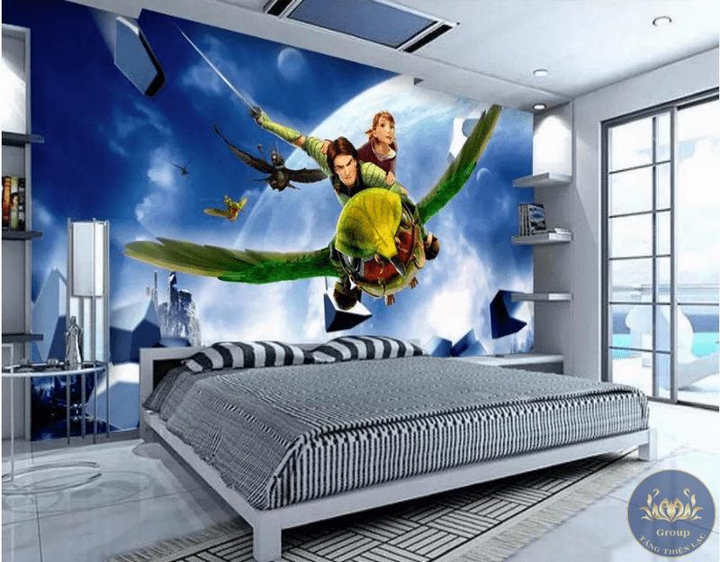 Tranh dán tường 3D cho phòng trẻ em dễ thương ngộ nghĩnh