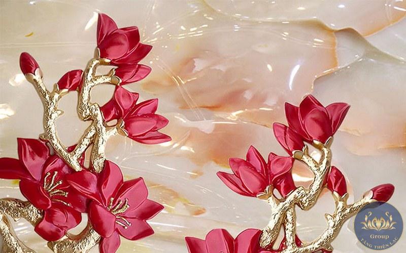 Tranh dán tường 3D hoa ngọc bích phong thủy mang vận may về cho gia chủ