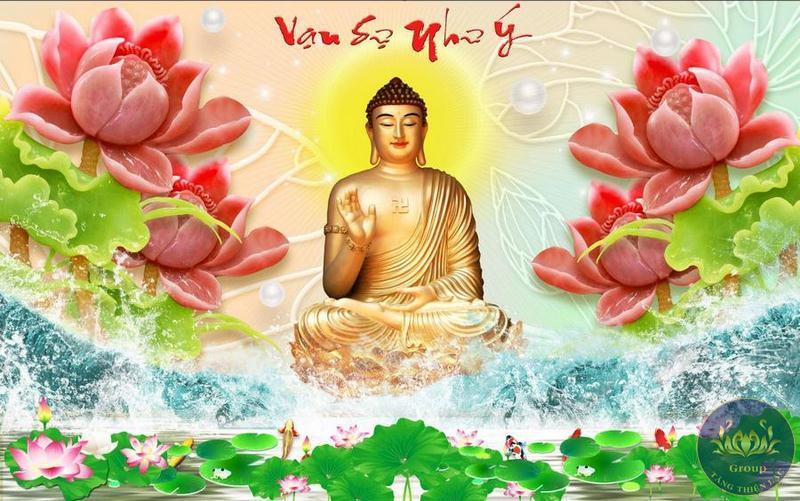 Tranh dán tường Phật Tổ giả ngọc bích cho gia chủ Vạn sự như ý