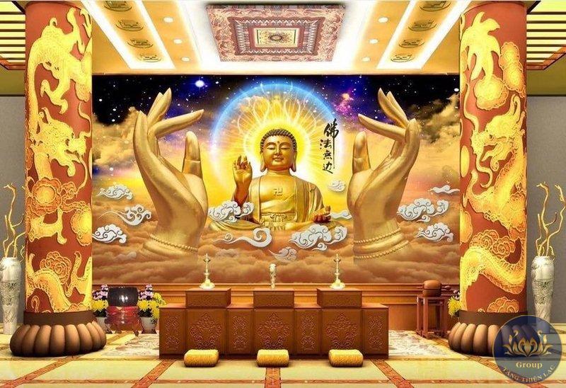 Tranh 3D Phật Tổ cầu gia đạo bình an , an lạc trong cuộc sống
