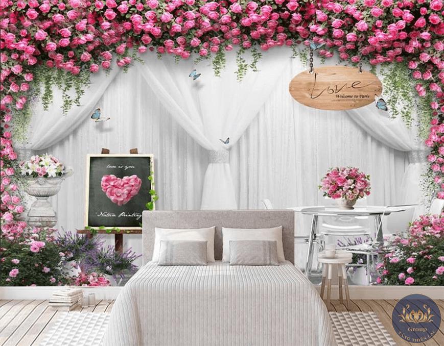 Tranh dán tường 3D phòng ngủ hoa đẹp làm cho phòng ngủ thơ mộng lãng mạn hơn
